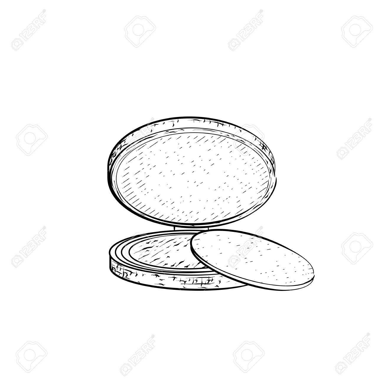 1300x1300 Hand Drawn Powder. Detailed Sketch Of Powder Or Eyeshadow Icon