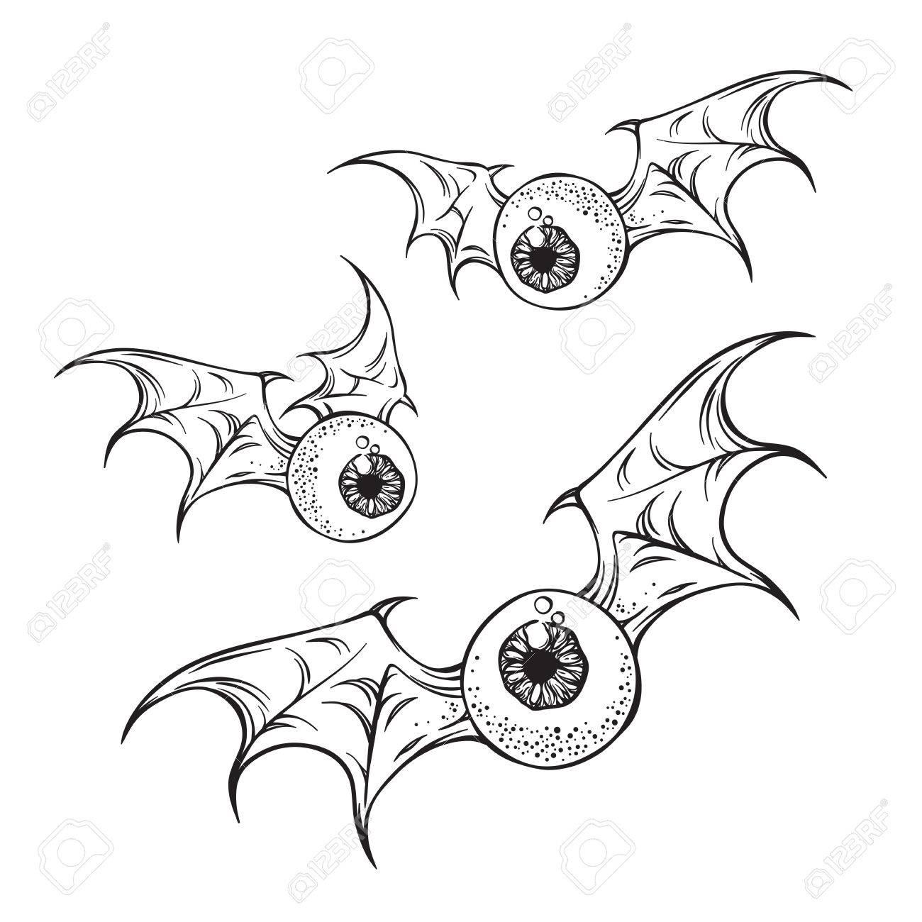 1300x1300 Flying Eyeballs With Creepy Demon Wings Black And White Halloween