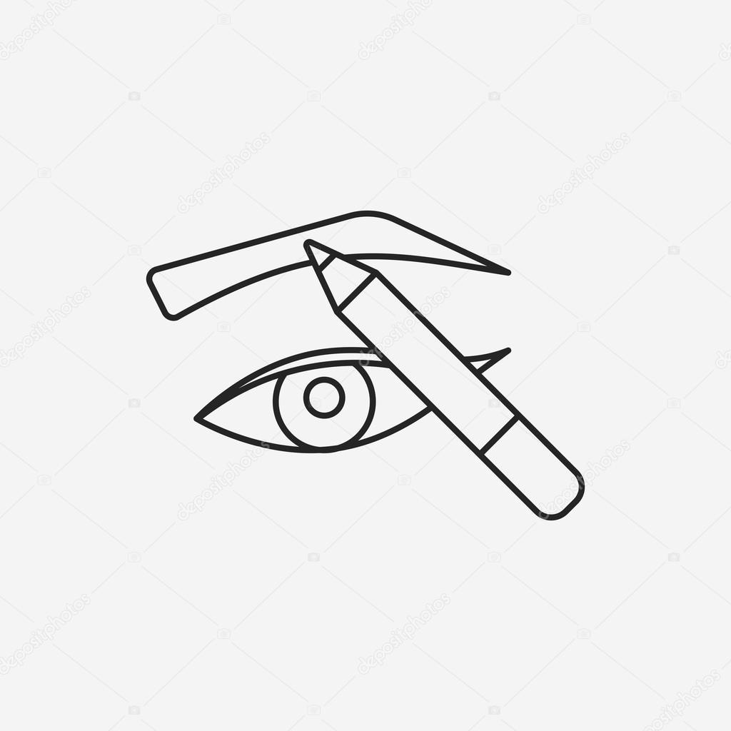 1024x1024 Painted Eyebrows Line Icon Stock Vector Vectorchef