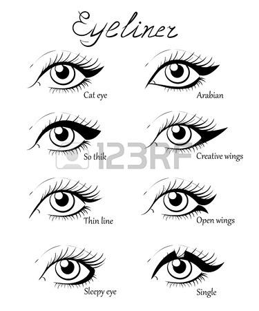 375x450 Types Of Eye Makeup. Cat Eyeliner Tutorial. Hand Drawn