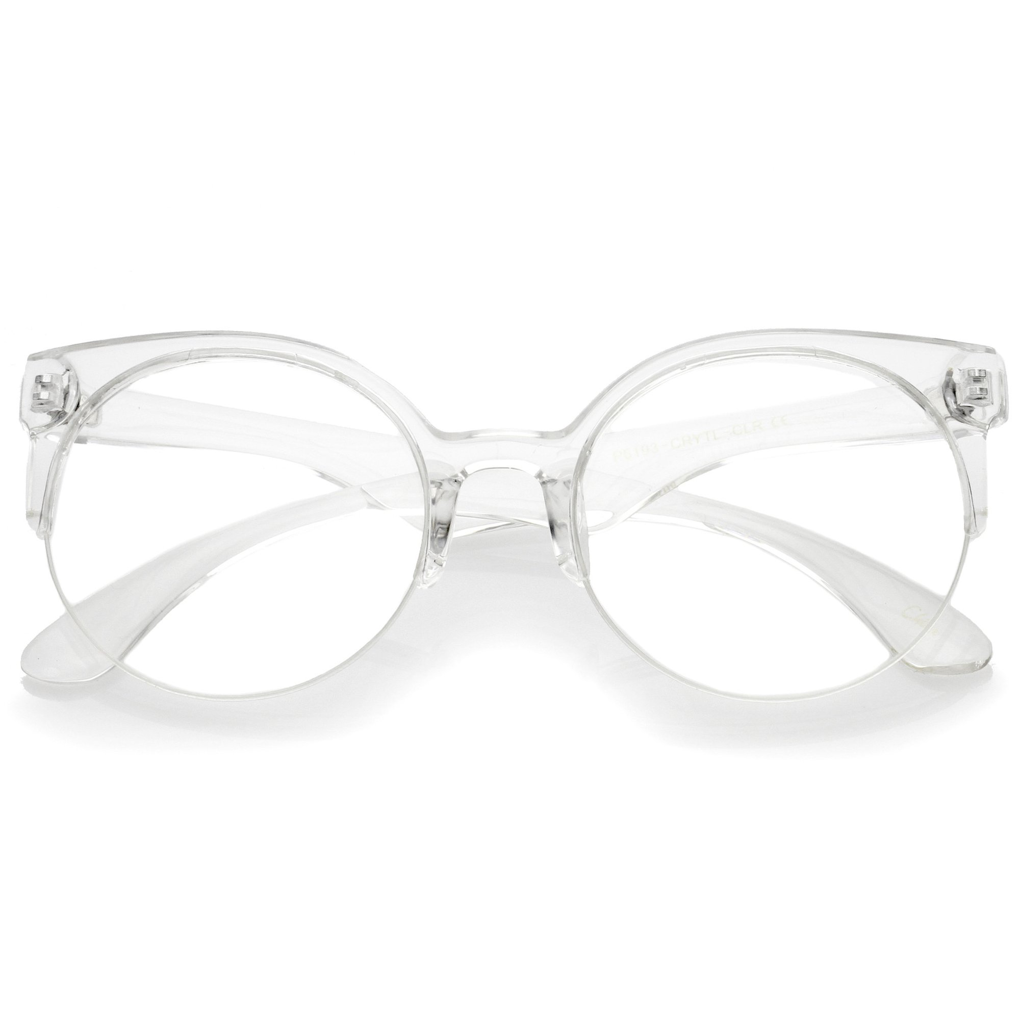 2000x2000 Modern Translucent Half Frame Clear Lens Glasses