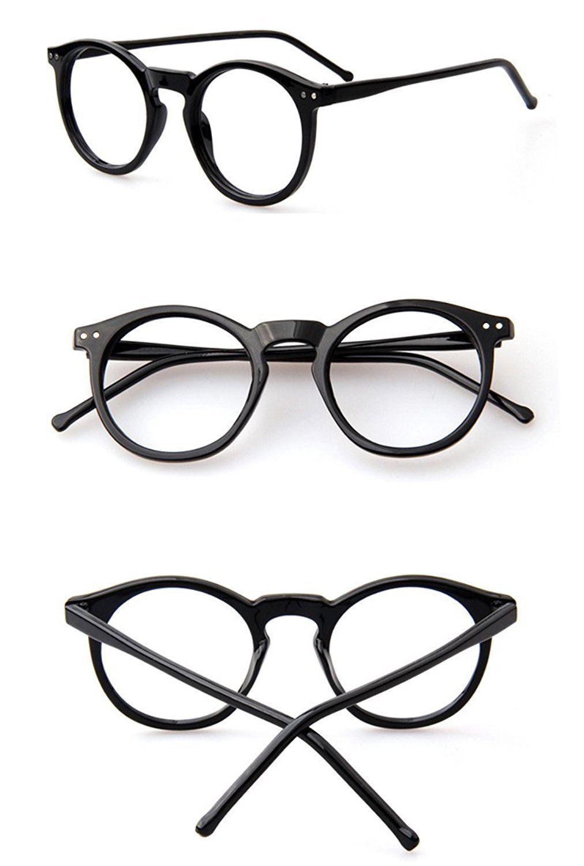 1012x1500 Beison Horn Rimmed Round Eyeglasses Frame Plain Glasses Clear Lens