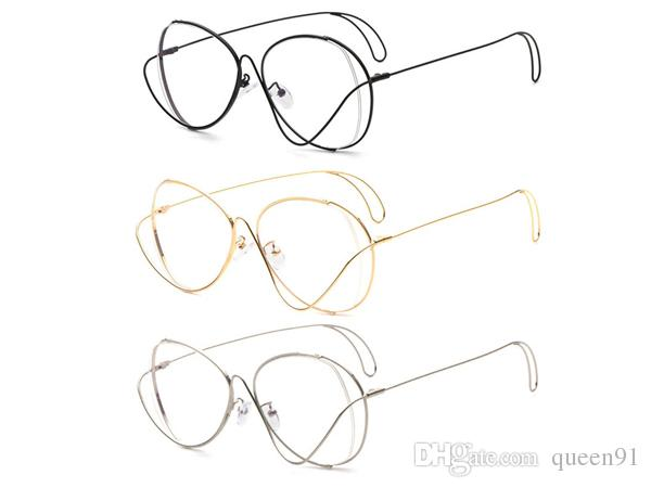 600x450 Black Gold Silver Polygon Metal Eyeglasses Frame With Clear Lens