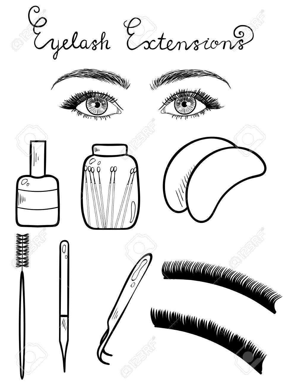 1004x1300 Sketched Vector Eyes With Long Lashes And Equipment For Eyelash