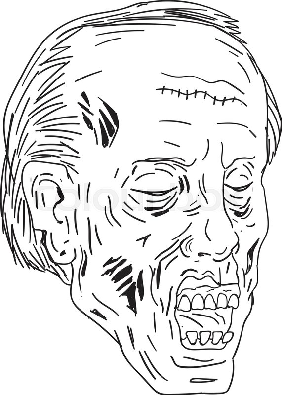 571x800 Drawing Sketch Style Illustration Of A Undead Zombie With Head