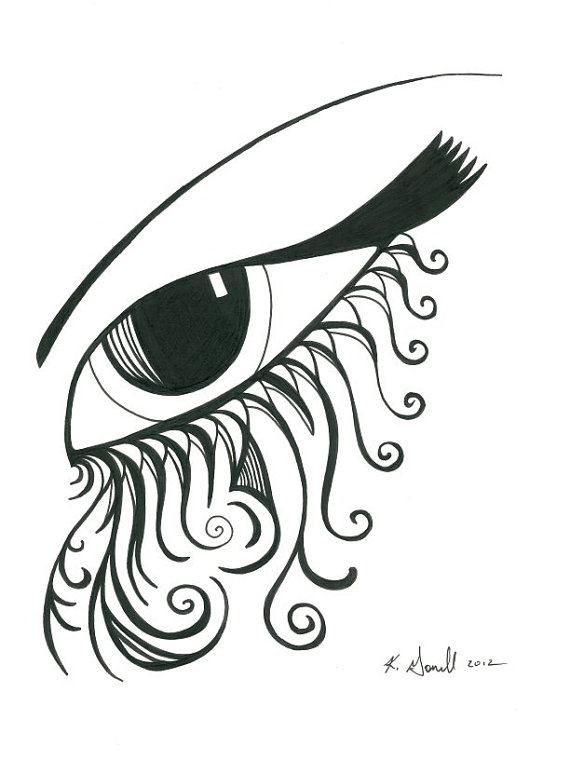 570x760 Eye Original Art Black And White Abstract Eye By Karengorrellart