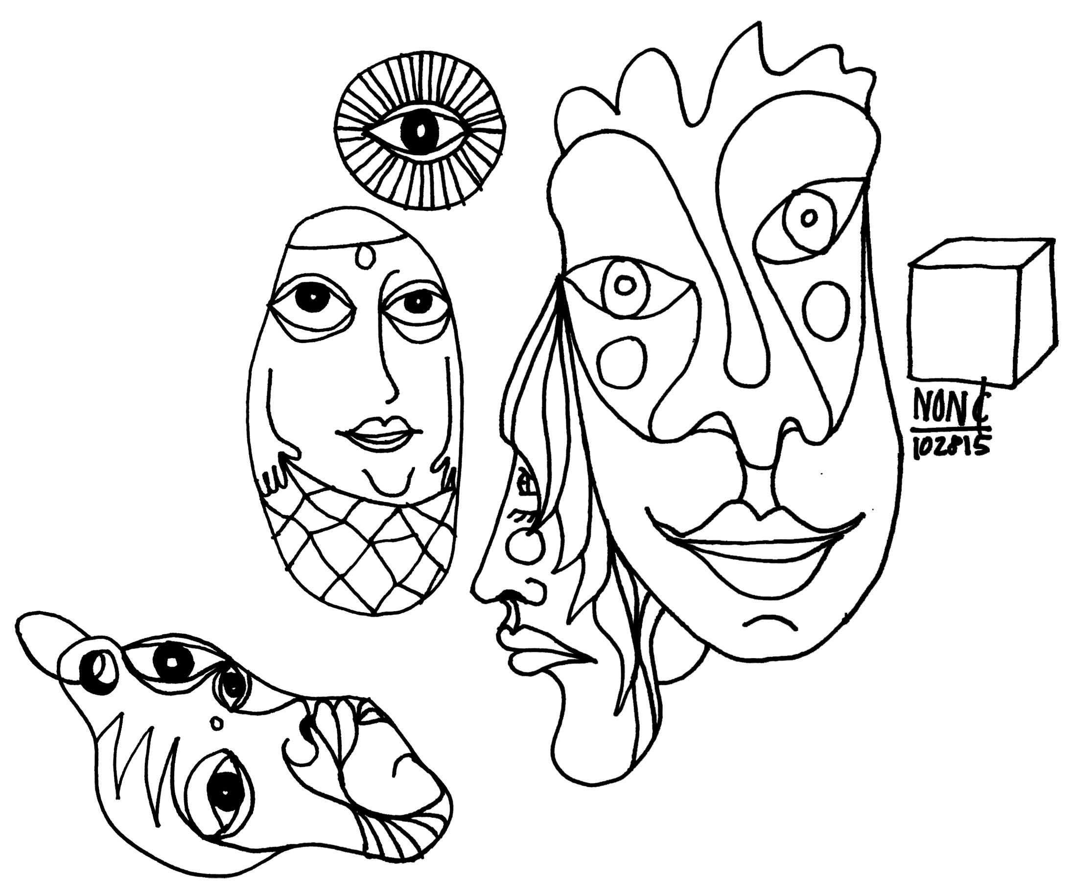 2190x1831 Ring Random Freestyle Drawing Includes Faces, Eyes, And Funky