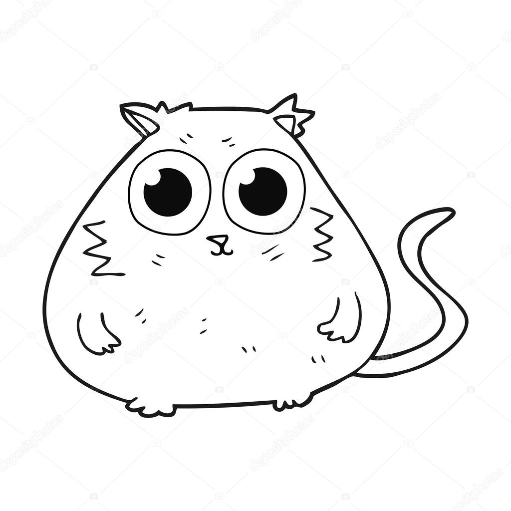 1024x1024 Black And White Cartoon Cat With Big Pretty Eyes Stock Vector