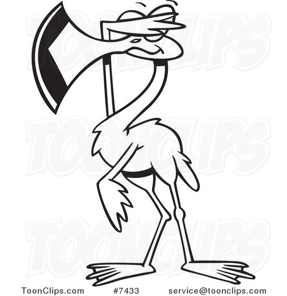 581x600 Cartoon Black And White Line Drawing Of A Flamingo Covering His