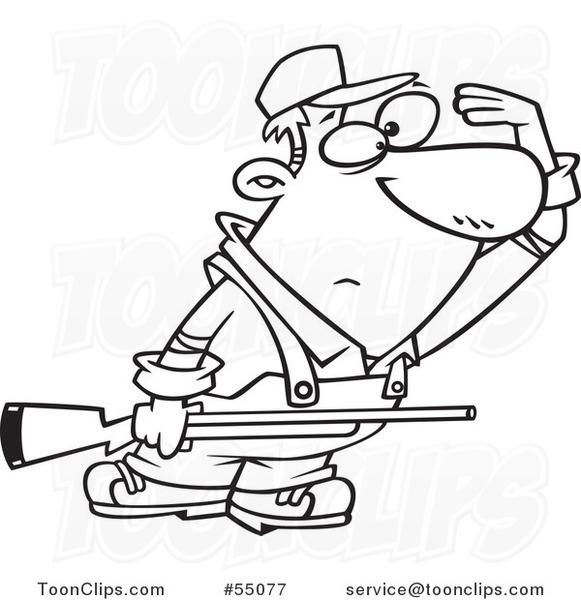 581x600 Outlined Cartoon Farmer Or Hunter Shielding His Eyesnd Holding