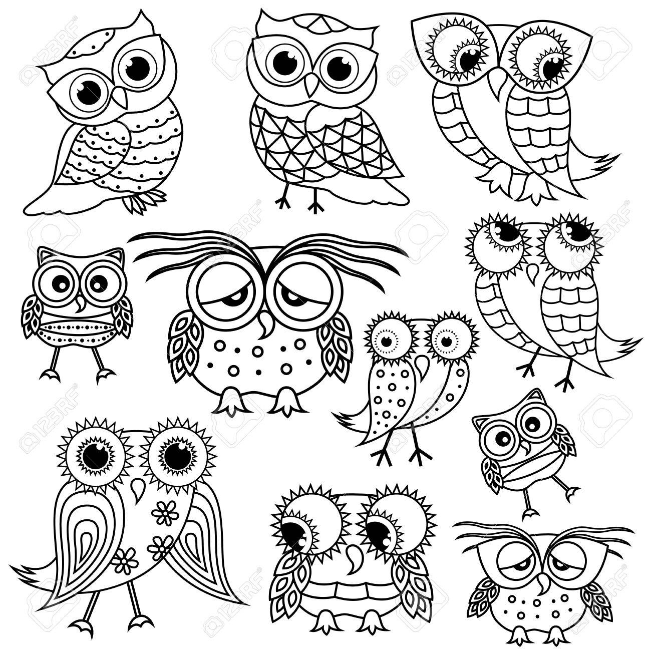 1300x1300 Set Of Eleven Funny Cartoon Owl Outlines Big Eyes And
