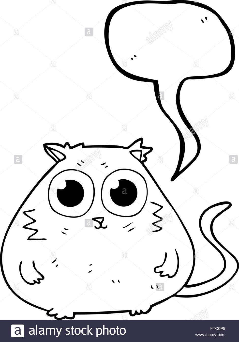 972x1390 Freehand Drawn Speech Bubble Cartoon Cat With Big Pretty Eyes