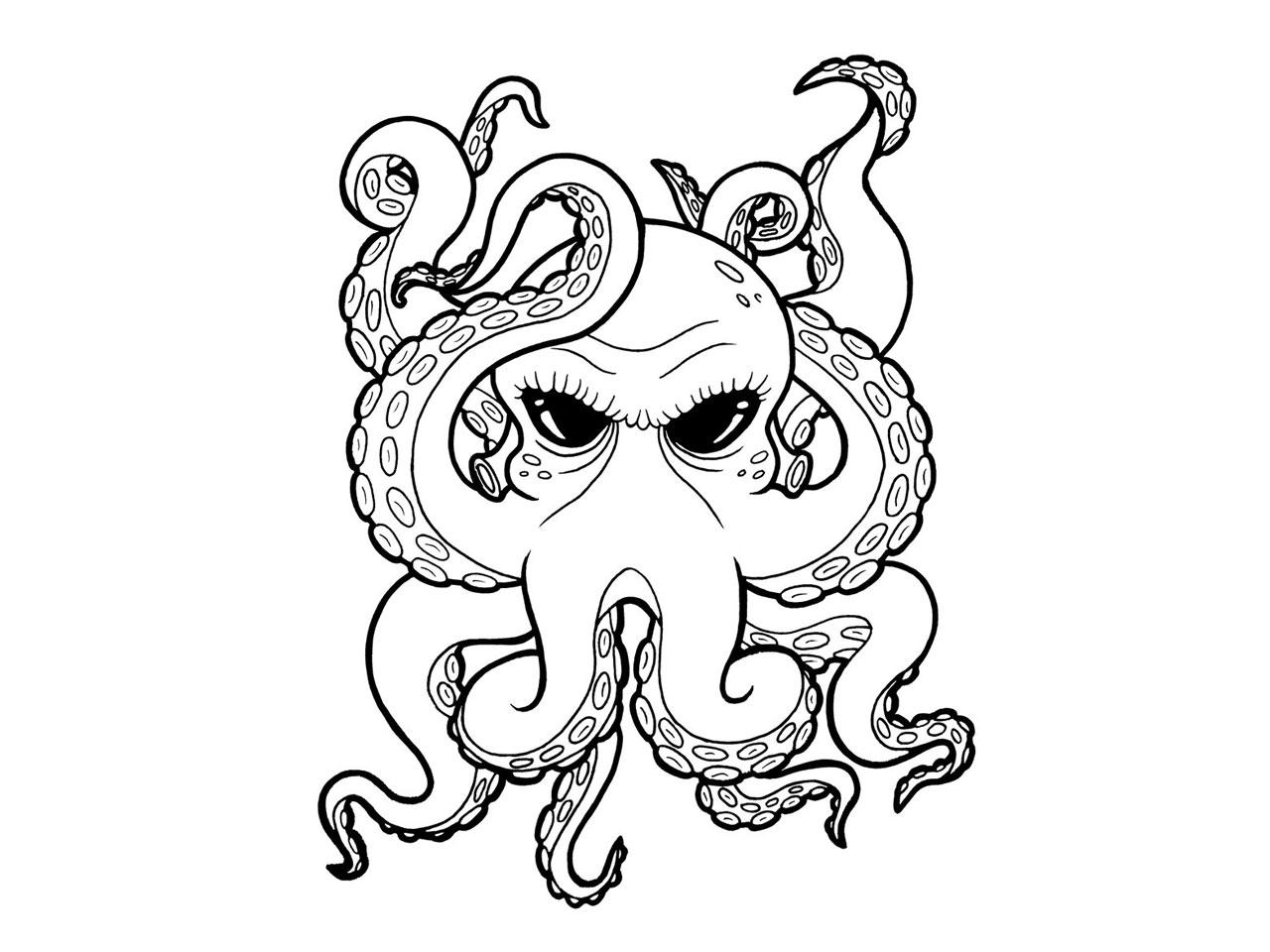 1280x960 Cartoon Black Eyes Octopus Tattoo