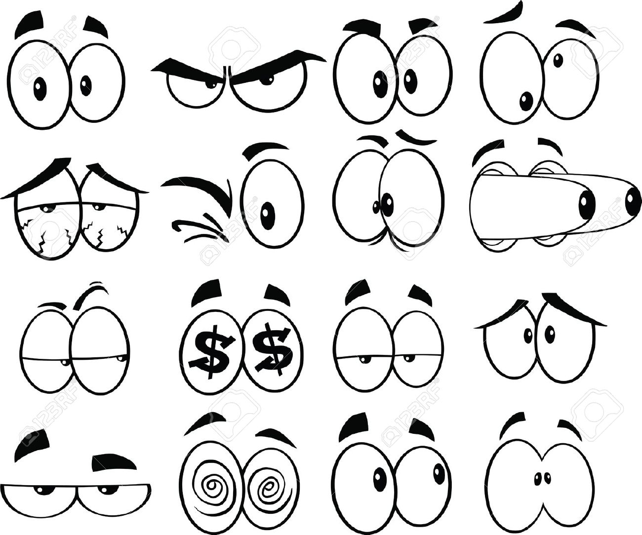 1300x1084 Drawing Cartoon Eyes Nose And Mouth How To Draw Vector Eyes