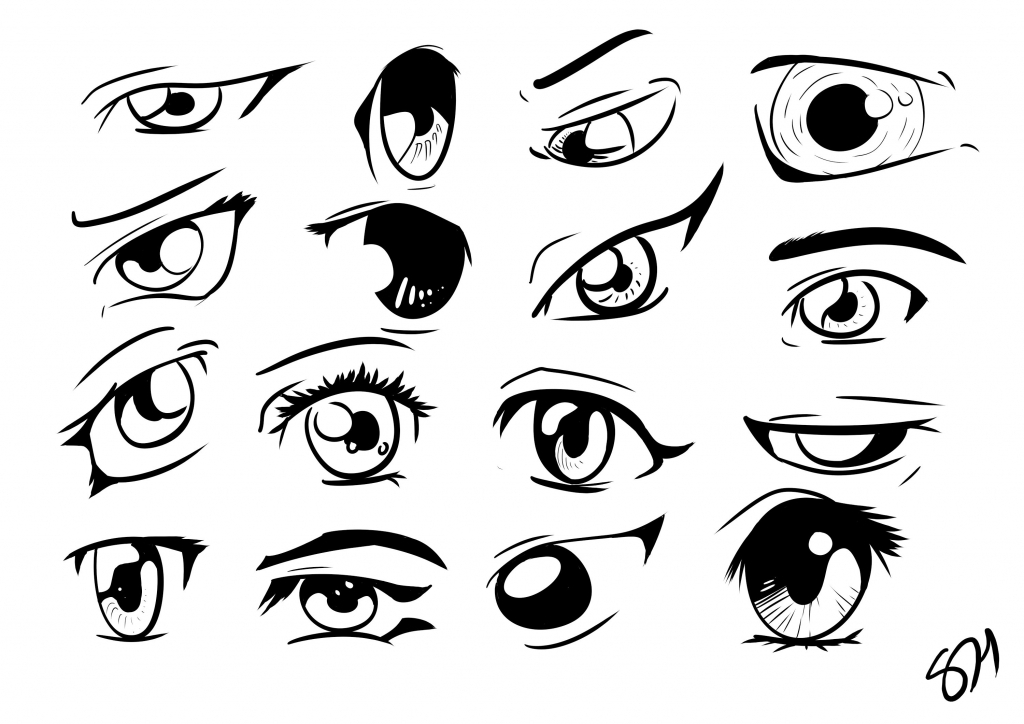 1024x724 Drawing Eyes Anime How To Draw Manga Anime Eyes 16 Different Eyes