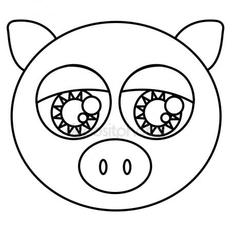 450x450 sketch silhouette face cute pig animal with big eyes — Stock