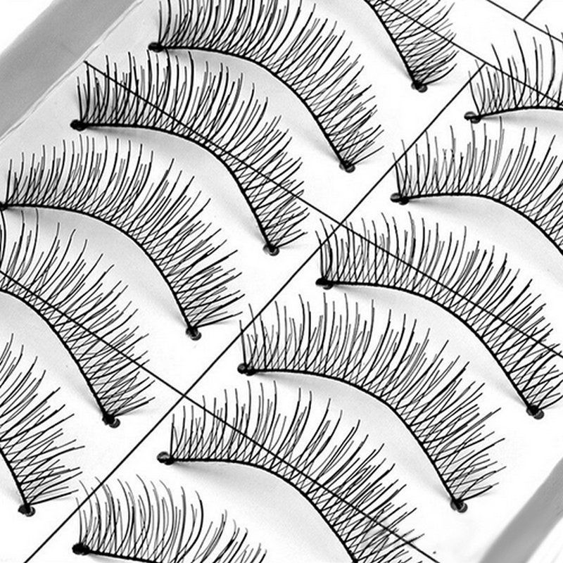 800x800 10 Pairs Soft Natural Cross Handmade Eye Lashes Makeup Extension