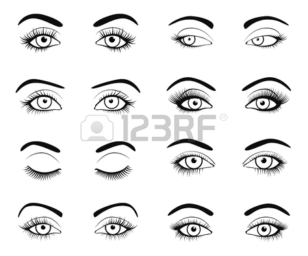 450x375 Makeup Eyebrow. Closed Eye With Long Eyelashes. Vector