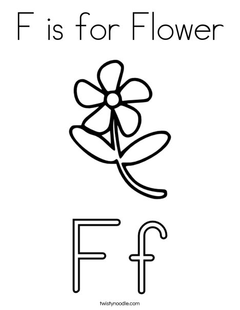 468x605 F Is For Flower Coloring Page