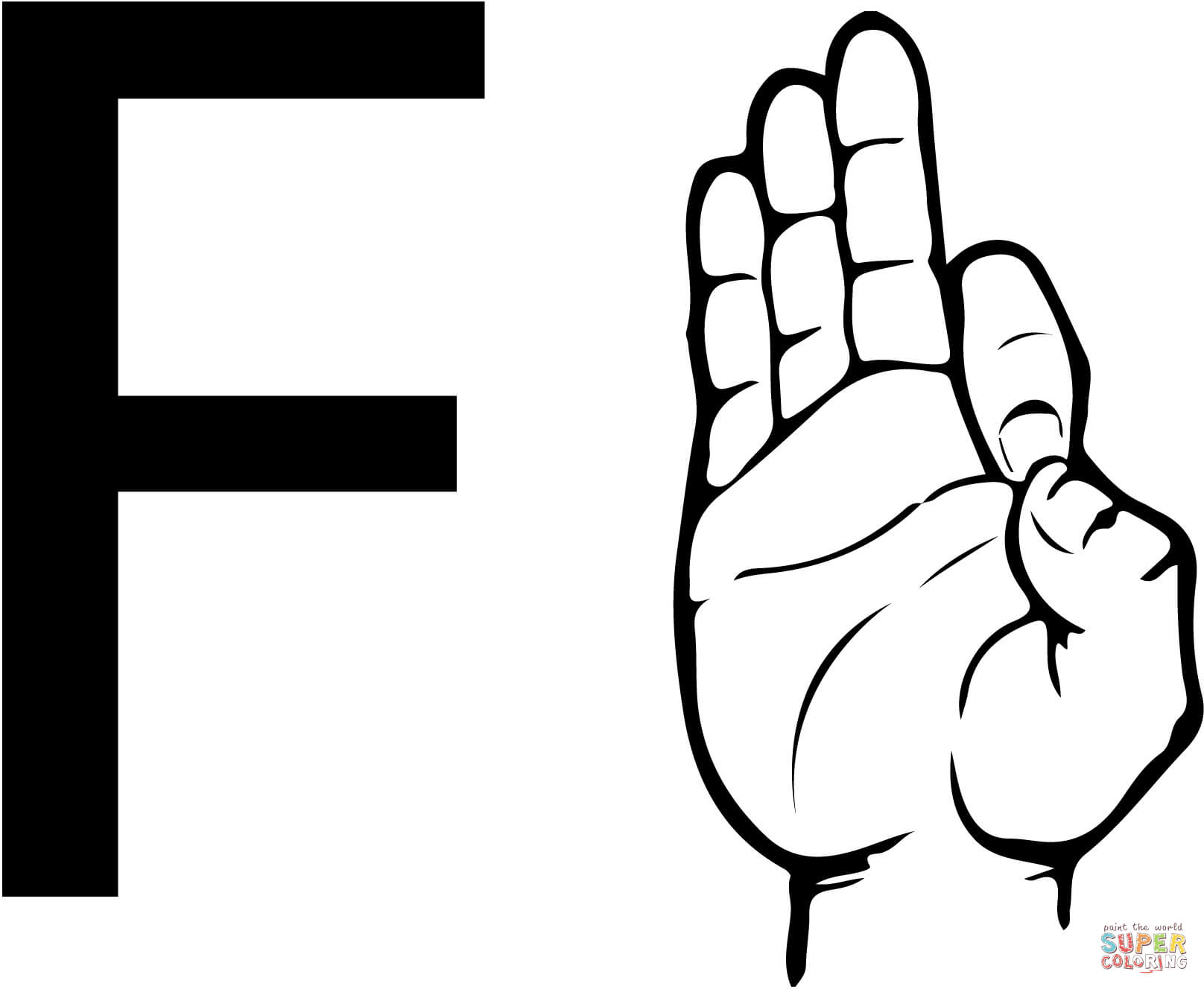 1616x1328 Asl Sign Language Letter F Coloring Page Free Printable Coloring