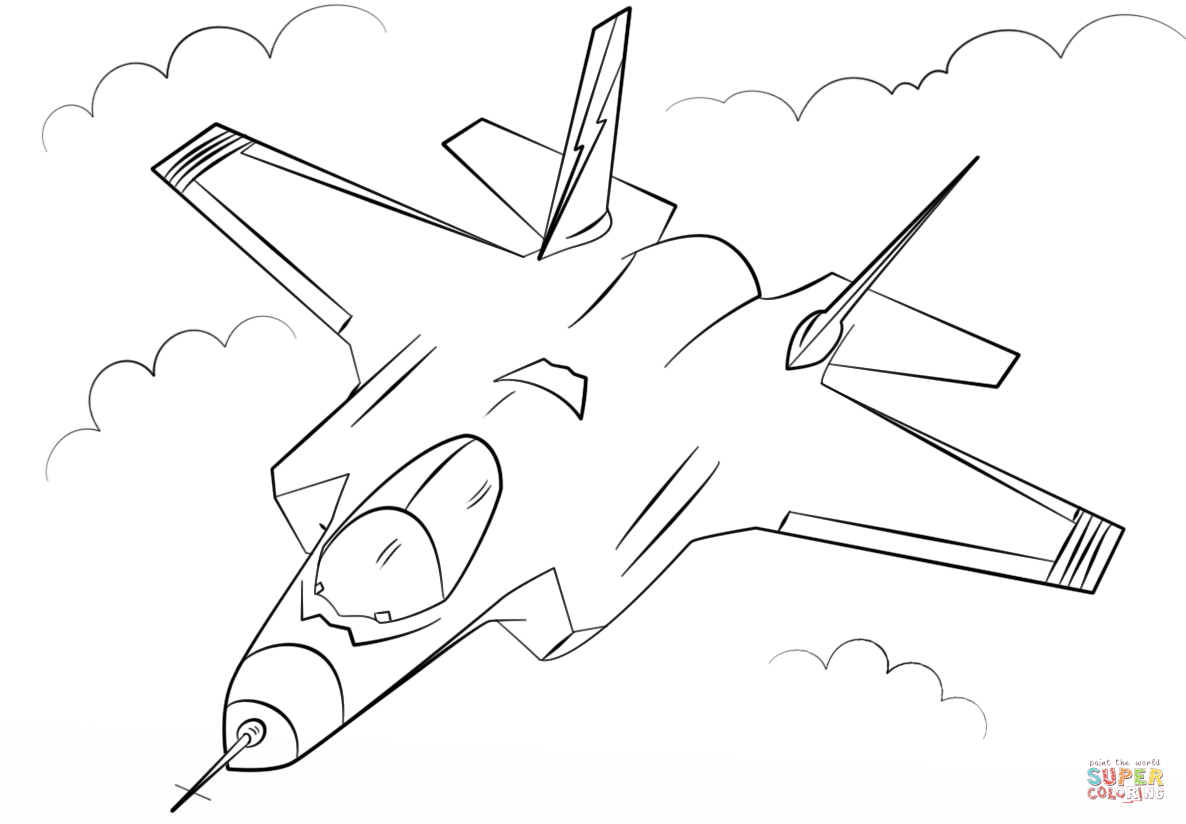 1186x824 Stealth Multirole Fighter F 35 Coloring Page Free Printable