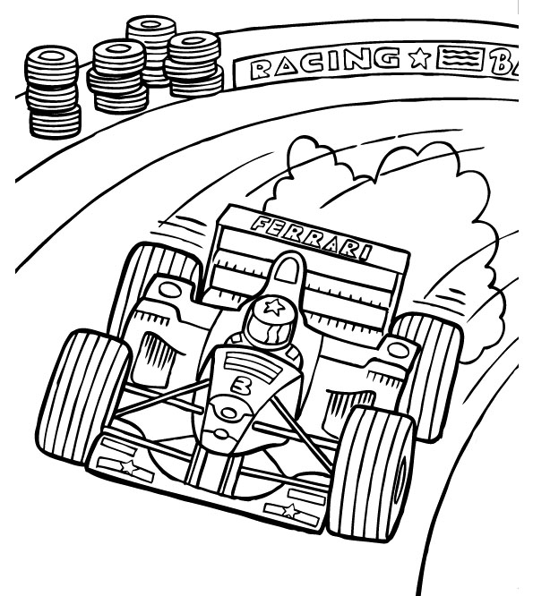 595x666 F1 Track Racing Coloring Page