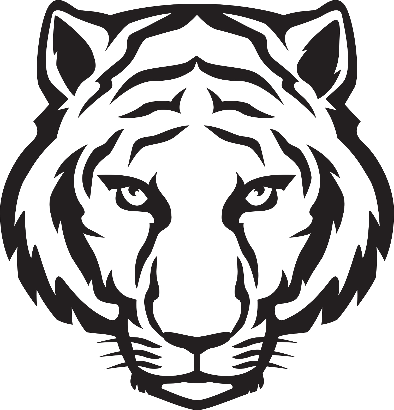 1510x1571 Tiger Cartoon Drawing Cartoon Tiger Face Drawing