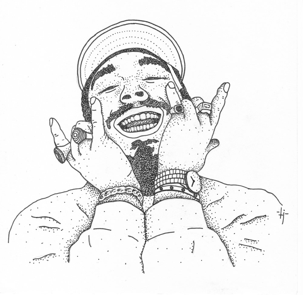Post Malone Clip Art: Face Drawing Black And White At GetDrawings
