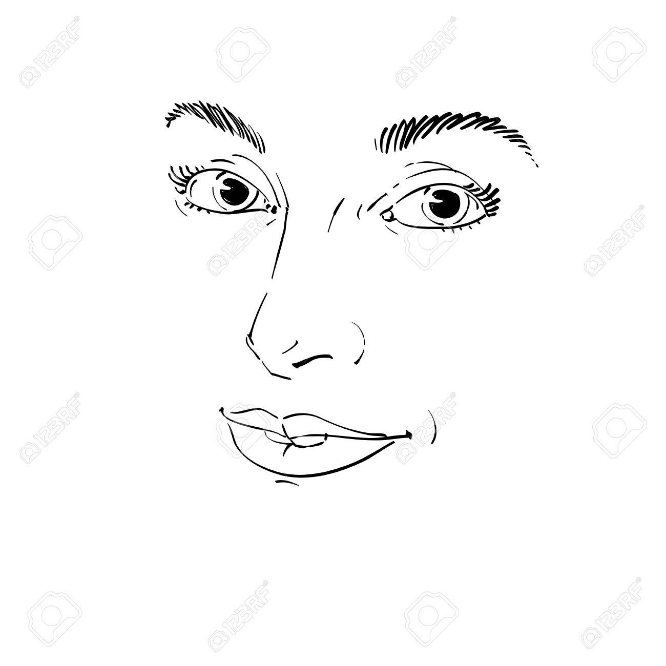 1300x1300 Vector Art Drawing, Portrait Of Gorgeous Happy Smiling Girl