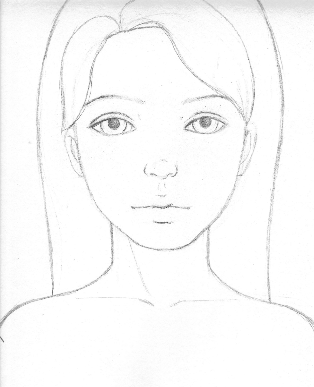 1038x1276 Easy Girl Face Sketch Simple Girls Face Drawing Easy Girl Drawing