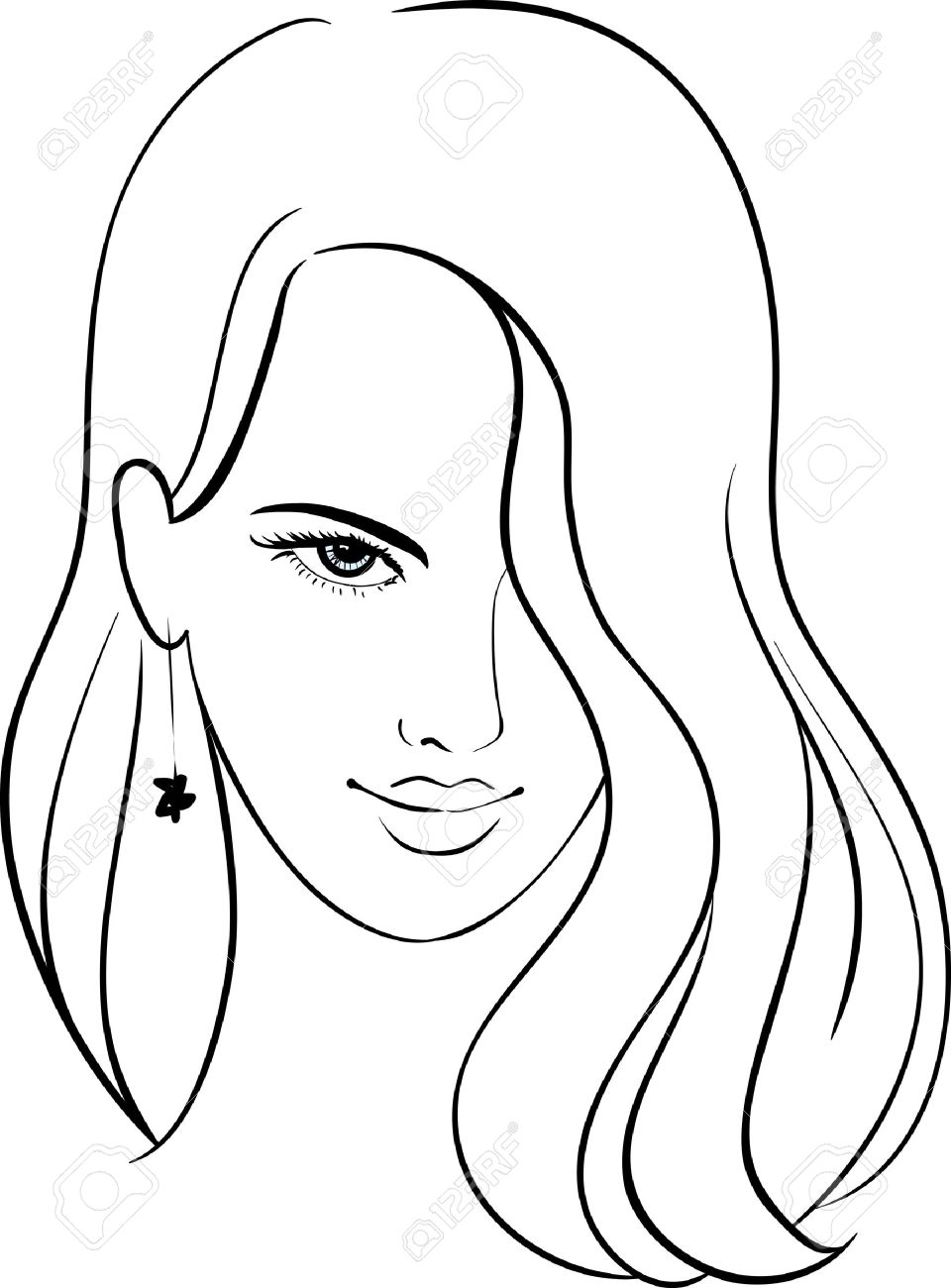 960x1300 Girl Face With Beautiful Hair, Vector Sketch Royalty Free Cliparts
