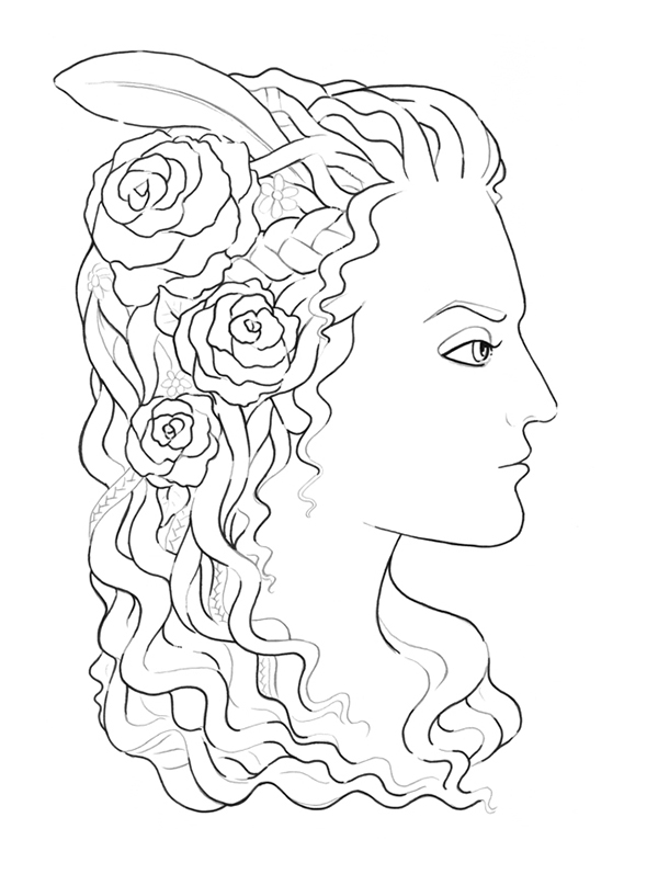 600x797 How To Create A Medieval Style Female Profile With Ink And Pencils