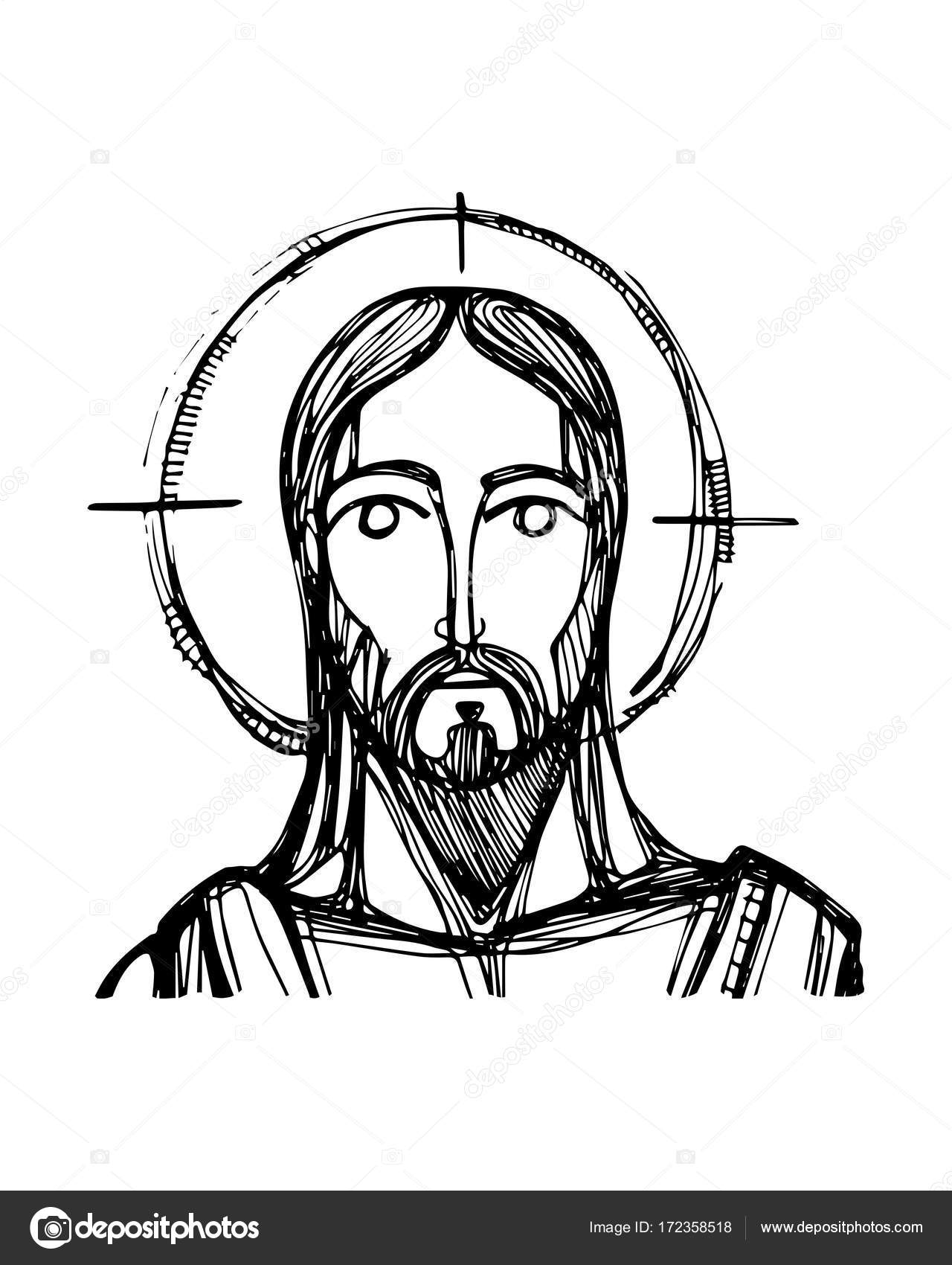 1280x1700 Hand Drawn Jesus Christ Face Stock Vector Bernardojbp