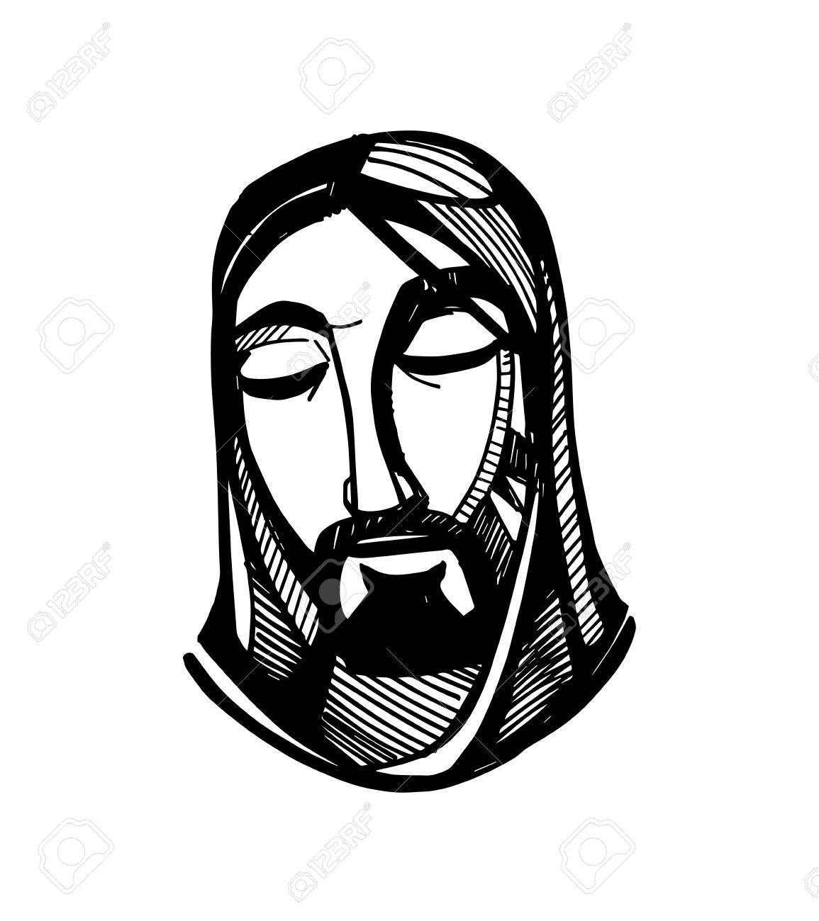 1155x1300 Hand Drawn Vector Illustration Or Drawing Of Jesus Christ Face