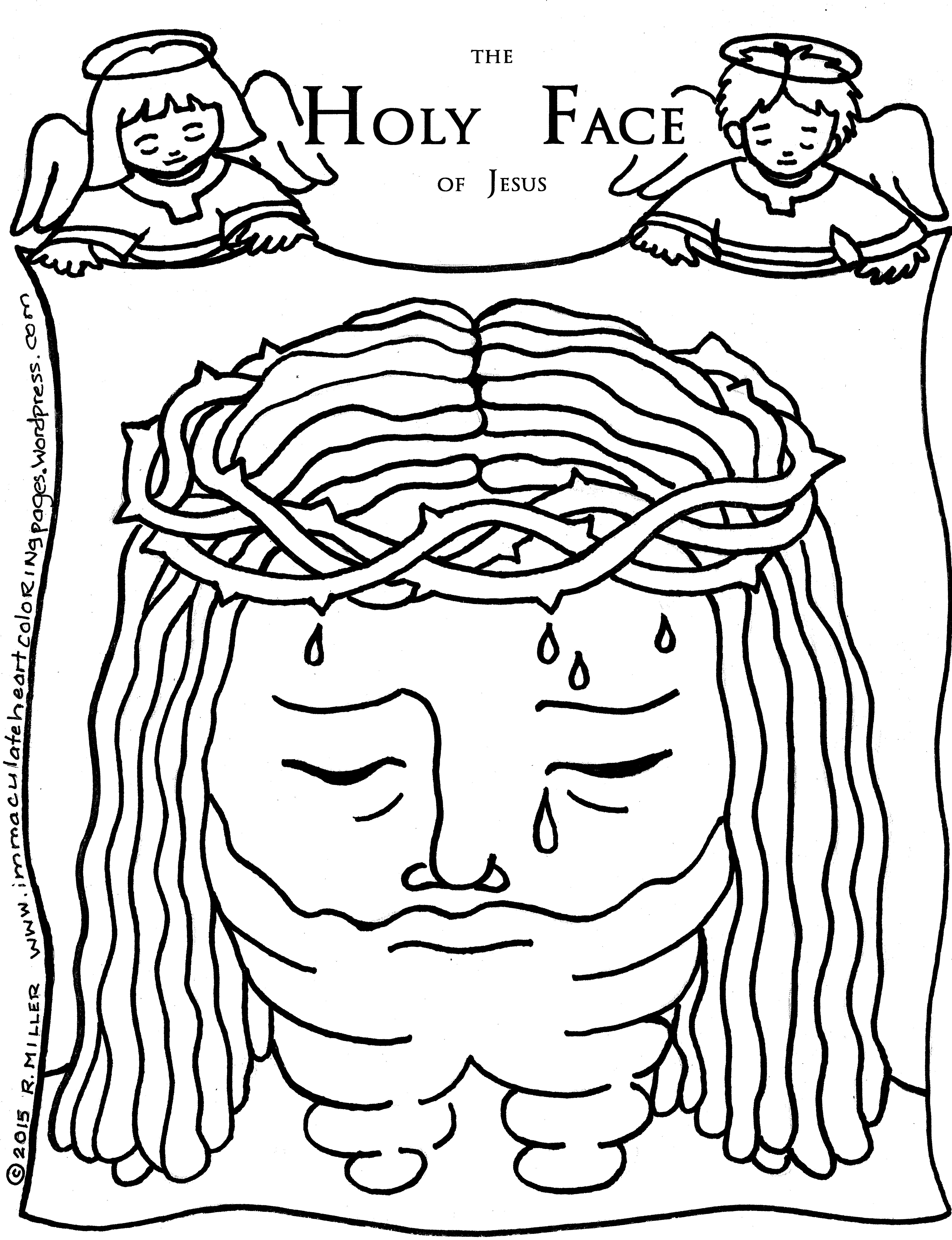 4958x6458 Holy Face Coloring Page Immaculate Heart Coloring Pages