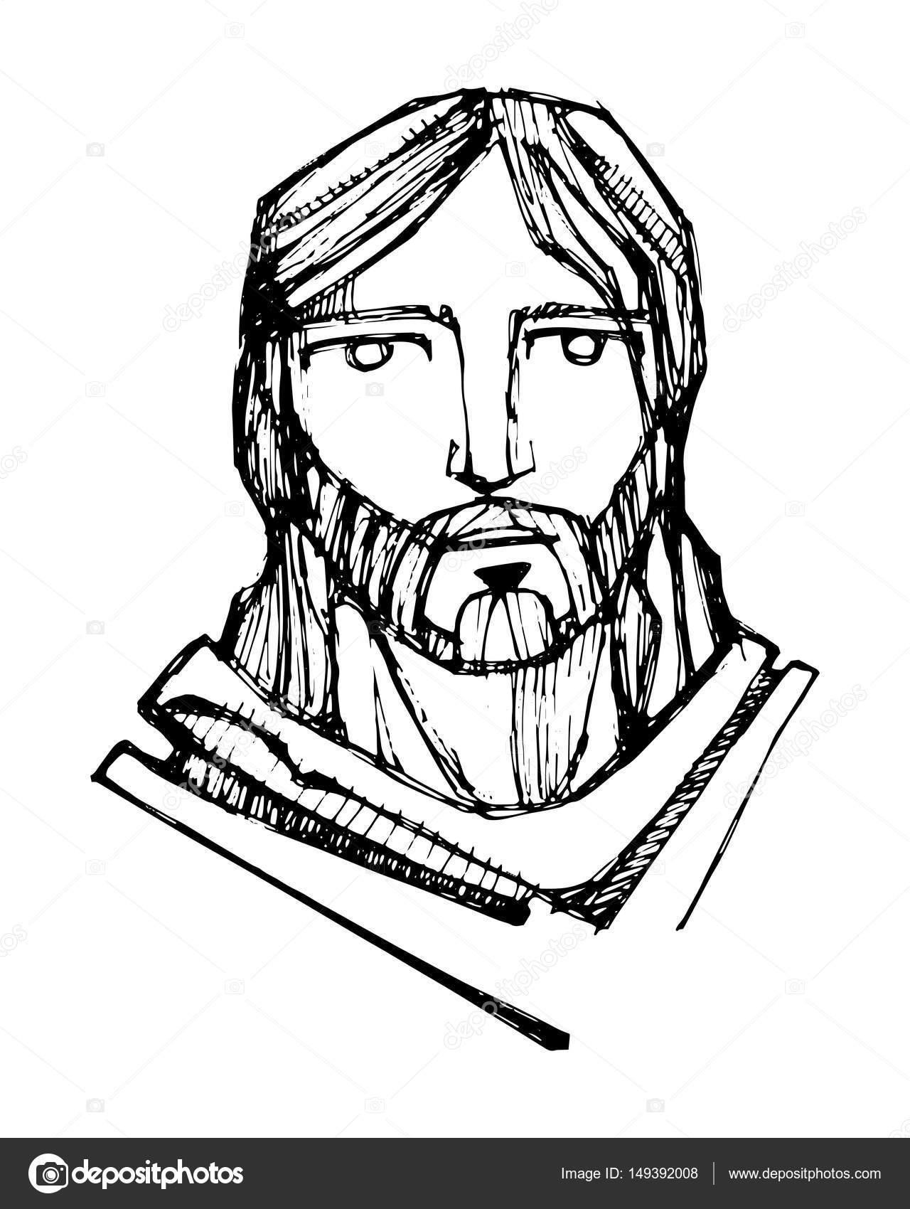 1280x1700 Jesus Christ Face Stock Vector Bernardojbp