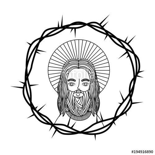 500x500 Engraving Face Sacred Jesus Crown Thorns Vector Illustration