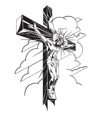 350x400 Drawn Cross Jesus Face