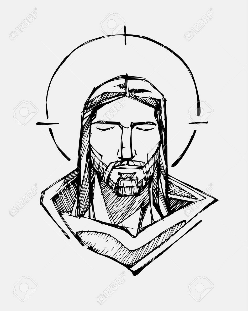 1039x1300 Hand Drawn Vector Illustration Or Drawing Of Jesus Christ Serene