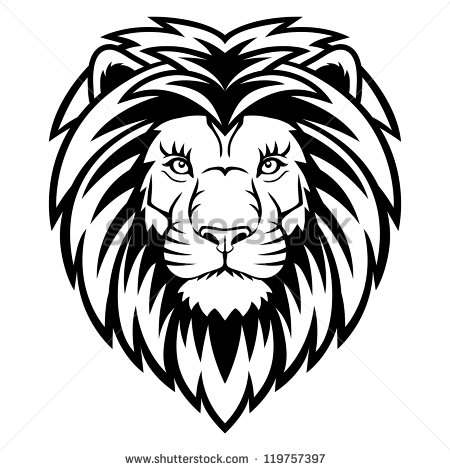 450x470 a lion head logo in black and white this is vector illustration