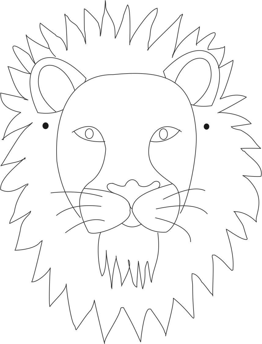 857x1127 Coloring How To Draw A Lion Face Realistic Together With How To