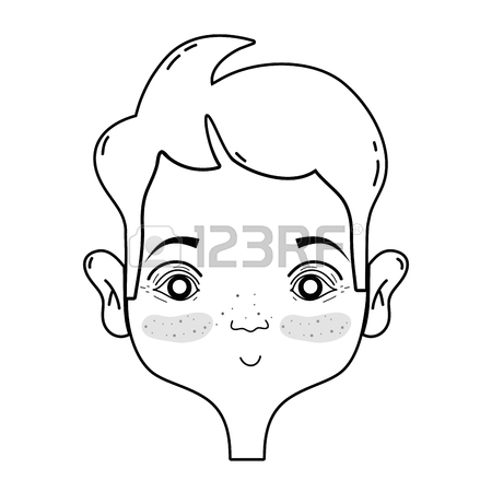 450x450 Outline Drawing Of Avatar Man's Face With Hairstyle Design Royalty