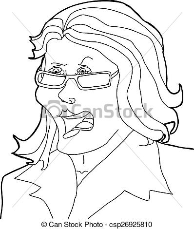 398x470 Outline Drawing Of Angry Lady With Eyeglasses Vector Clip Art