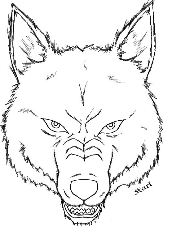 584x776 Wolf Head Outline By Dark Rikimaru