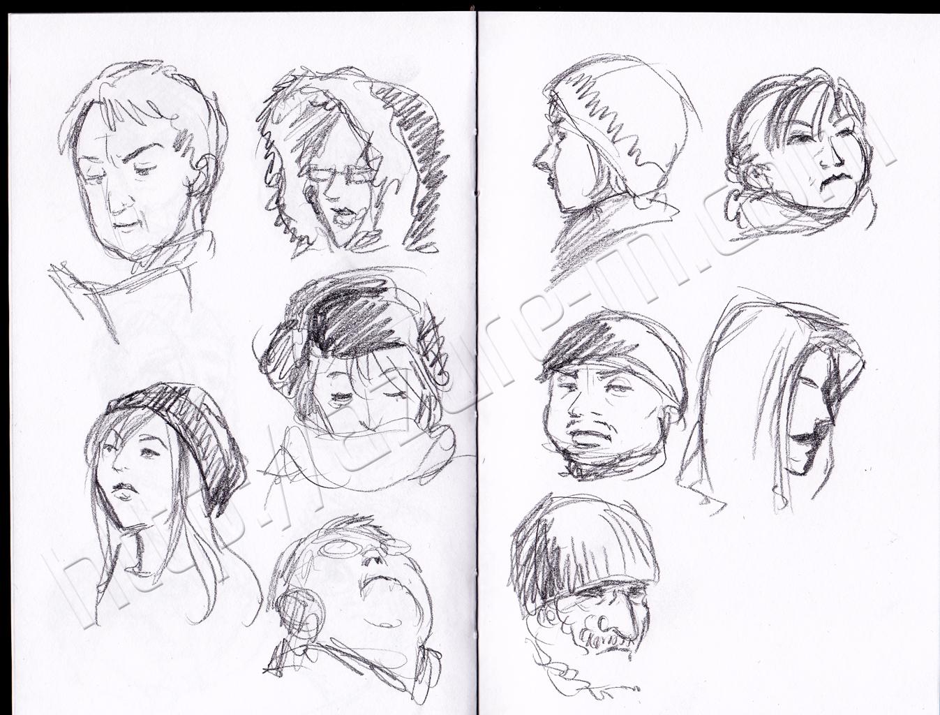 1347x1024 Subway Faces Sketches Pencil