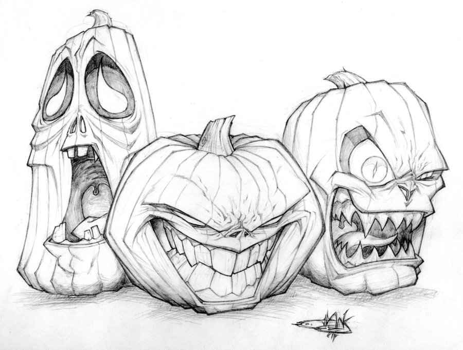 900x682 Jack O Lantern Trio Drawing Pictures, Photos, And Images
