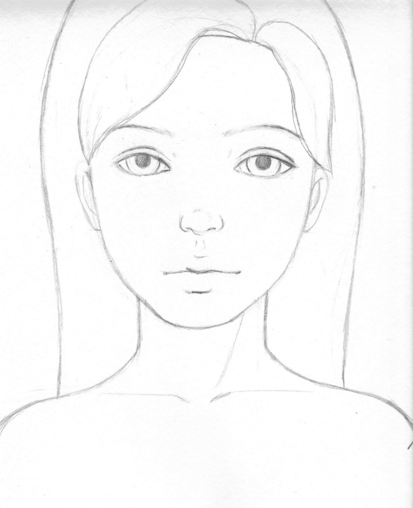 833x1024 Girl Face Simple Drawing Faces Simple Pencil Art Simple Face