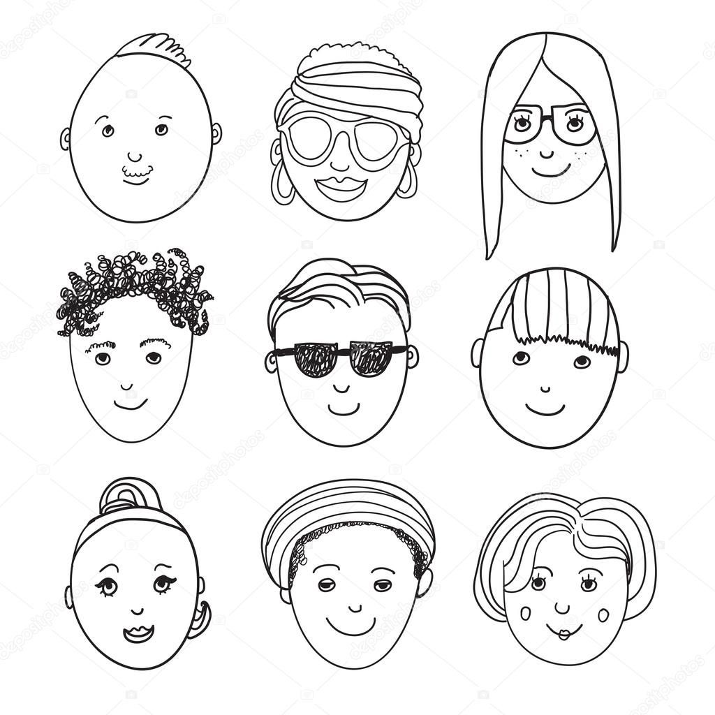 1024x1024 Hand Drawn People Faces Stock Vector Marylia