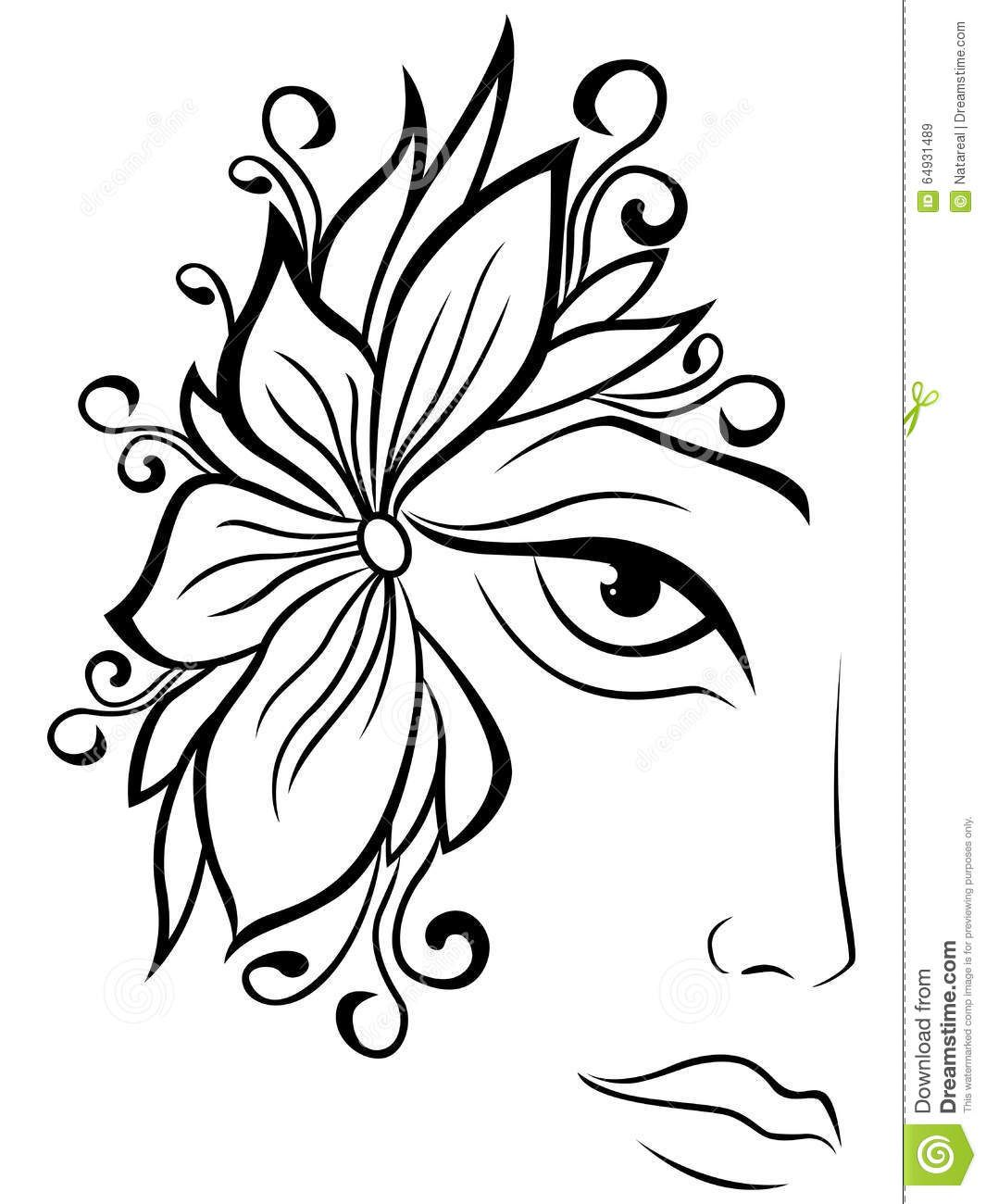1065x1300 Part Of Female Face With Floral Accessories Stock Vector