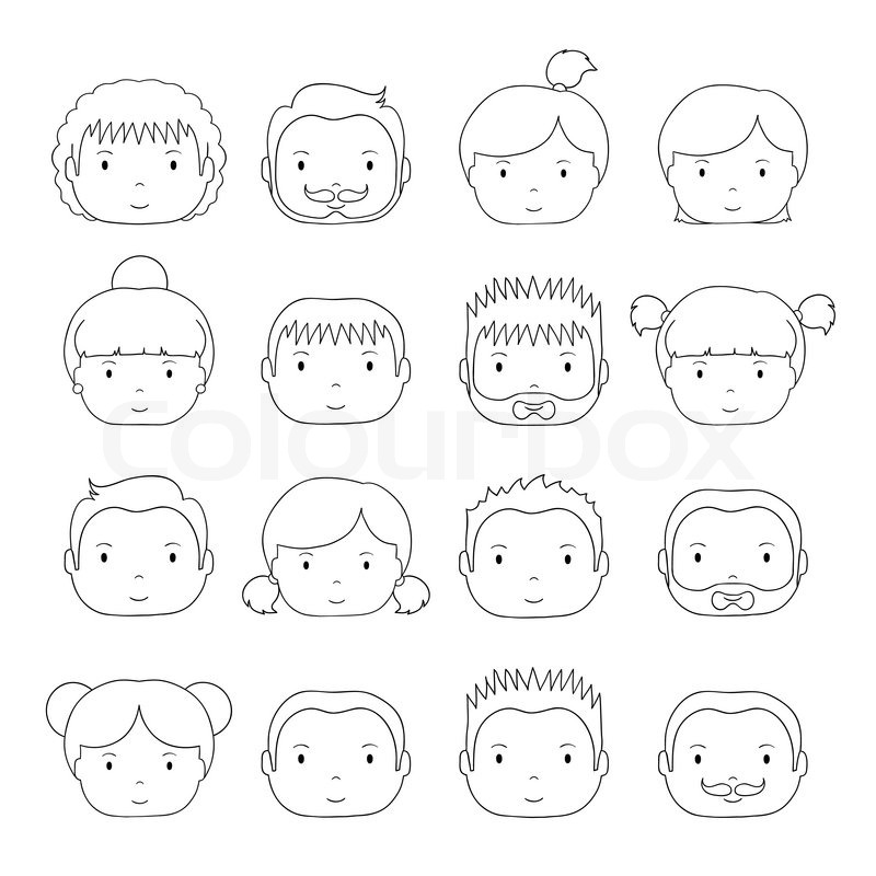 800x800 Set Of Line Silhouette Office People Icons. Businessman